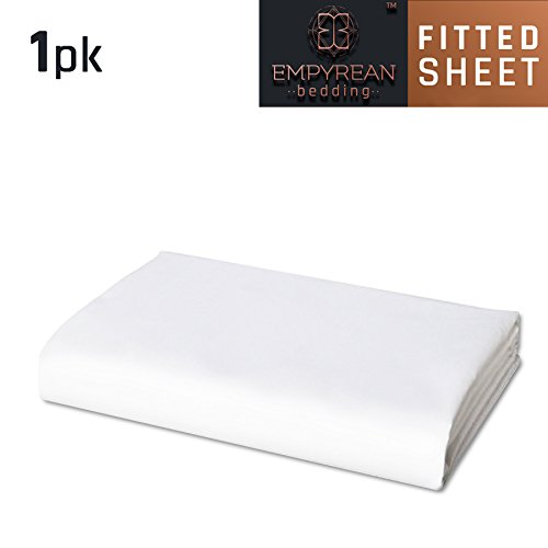 White Empyrean Bedding Deep Pocket Fitted Sheet Hotel Luxury Silky Soft Double Brushed Microfiber Sheet Cal King Hypoallergenic Wrinkle Free Cooling Deep Pocket Bed Sheet
