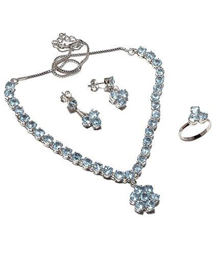 Be You Plaqué envoûtante topaze bleue diamant regard argent rhodié boucle d'oreille et collier ensemble sterling pour les femmes