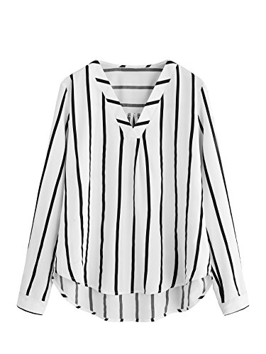 Floerns Women's V Neck Long Sleeve Striped Chiffon Blouse Top White (White Stripe V-neck Top)
