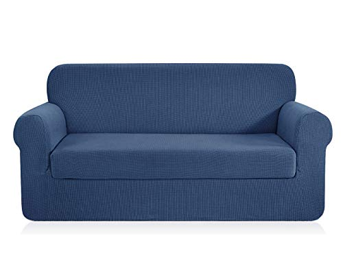 CHUN YI Jacquard Sofa Covers 2-Piece Stretch Polyester Spandex Fabric Couch Slipcover, 3 Seater Cushion Sofa Furniture Protector for Couch (Sofa,Denim Blue)