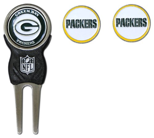 Team Golf NFL Green Bay Packers Divot Tool with 3 Golf Ball Markers Pack, Markers are Removable Magnetic Double-Sided Enamel ()