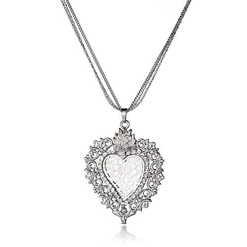 Miweel Womens Filigree Pendant Necklaces Hollow Heart Floral with 3