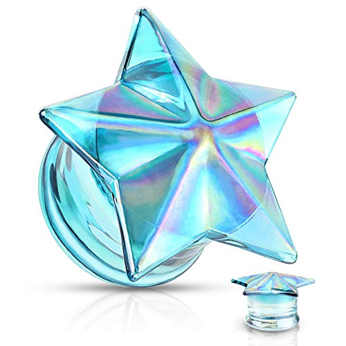 (Pair of Blue/Rainbow Glass Faceted Star Ear Plugs Double Flared Gauges (9/16 Inch (14mm)))