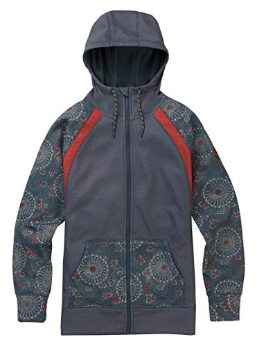 Burton Women's Crown Bonded Full-Zip Hoodie, Dark Slate Heather/ Domo Print/ Burnt Sienna Heather, ()