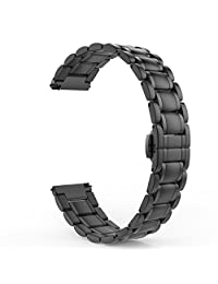 Gear S2 Classic Watch Band, MoKo Stainless Steel Metal Replacement Smart Watch Strap Bracelet for Samsung Gear S2 Classic SM-R732 & SM-R735 / Moto 360 2nd (Men's 42mm 2015), BLACK