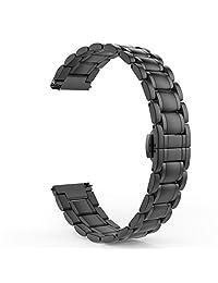 Gear S2 Classic / Gear Sport Watch Band, MoKo Stainless Steel Metal Strap for Samsung Gear S2 Classic SM-R732 & SM-R735 / Gear Sport SM-R600 / Motorola Moto 360 2nd (Men's 42mm 2015), BLACK