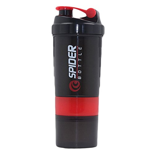 Toonol New Spider Protein Shaker 3 in 1 Sports Water Bottle with Inserted Mixing Ball Color Red 500ml - Spider Mixer Bottle