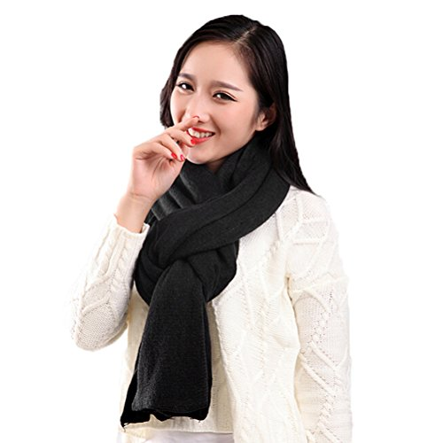 Nanxson(TM) Women's Solid Color Stunning Pashmina Wrap Shawl WJ0008 black without Tassel