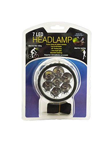 Kole Imports OF497 7 LED Pivoting Headlamp with Adjustable Strap