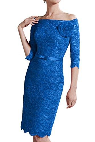 Ballkleider Mit Abendkleider Damen Aermeln Ausschnitt Blau Ivydressing Knielang Brautjungfernkleid Spitze U SnpqO
