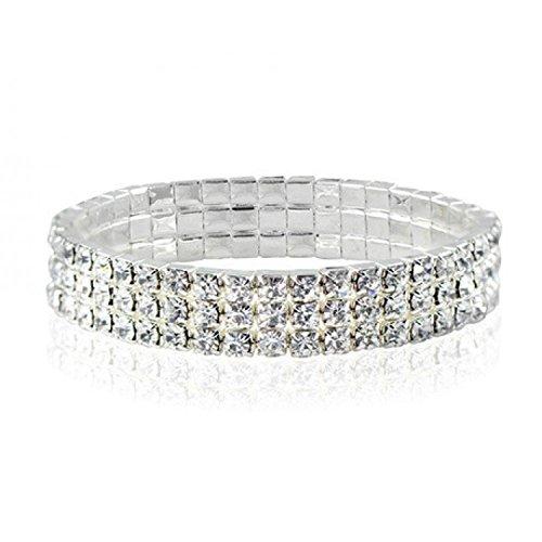 Cowhide Crystal Rhinestone (Sobly Jewelry 3-Row Three Row Crystal Rhinestone Stretch Cz Tennis Ankle Anklet Bracelet Sexy)
