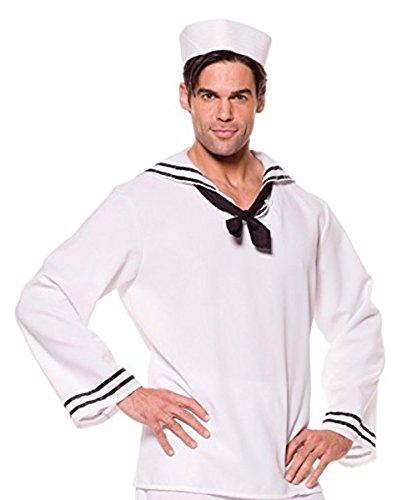 (Underwraps Costumes Men's Sailor Costume - Shirt, White/Black,)
