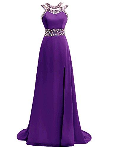 Robe De Bal Robes De Soirée Licol Demoiselle D'honneur Formelle En Mousseline De Soie Longue Fente Une Ligne Robes Dos Ouvert Violet