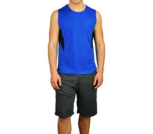 Completo sportivo da uomo modello TECHNICOLOR canotta e pantaloncini. MEDIA WAVE store ® (M/L, Blu Elettrico e Nero)