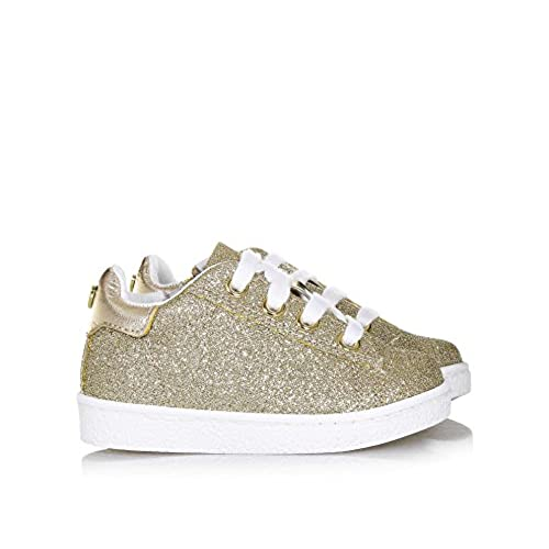 8a0dcf7b7574b Twin-Set Chaussure Dorée à Lacets en Glitter et Cuir