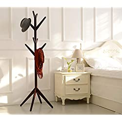 Neasyth Solid Wood Coat Rack Simple Entryway Standing Hall Tree Tetrapod Base for Hat Jacket Coat Hanger Rack in Living Room Bedroom