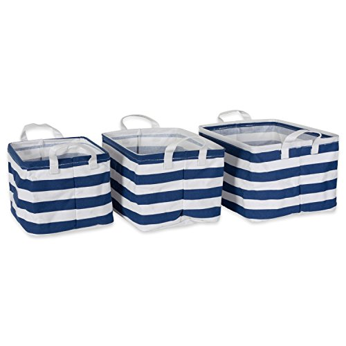 DII Cotton/Polyester Cube Laundry Basket, Perfect In Your Bedroom, Nursery, Dorm, Closet, Assorted Small Set of 3 - Nautical Blue Rugby (Three Blue Nursery Baskets)