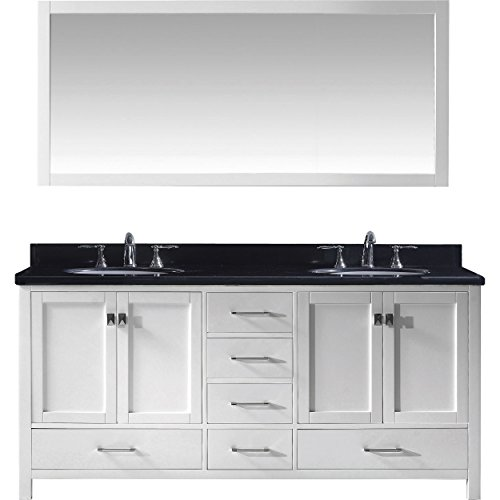 Black Galaxy Granite Countertops - Virtu USA Caroline Avenue 72 inch Double Sink Bathroom Vanity Set in White w/Round Undermount Sink, Black Galaxy Granite Countertop, No Faucet, 1 Mirror - GD-50072-BGRO-WH