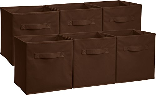 AmazonBasics Foldable Storage Bins Cubes Organizer, 6-Pack, Brown