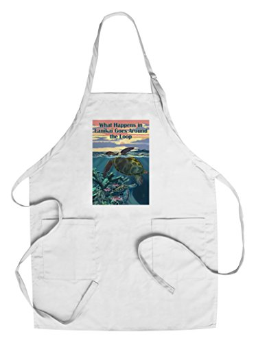 (Hawaii - What Happens in Lanikai Goes Around the Loop - Sea Turtles and Sunset (Cotton/Polyester Chef's Apron))