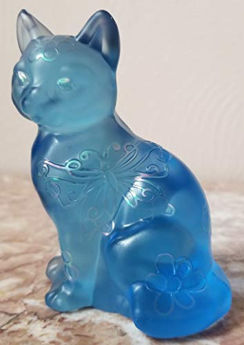 Fenton Blue Solid Glass Sitting Cat w/Carnival Sand Carved - Rosso USA - OOAK