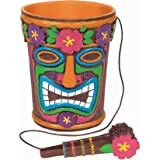 Plastic 9 1/2in Tiki Time Ice Bucket with Tongs