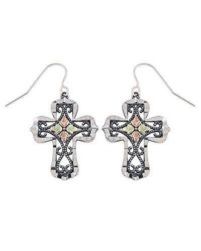 Granulated Bead Scroll Oxidized Cross Earrings, Sterling Silver, 12k Green and Rose Gold Black Hills Gold Motif by The Men's Jewelry Store (for HER)