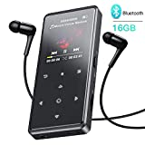 AGPTEK 16GB Bluetooth Mp3 Player, Portable HiFi Lossless Sound Music Player, Touch Button, Support AirPods Connection, FM Radio, Recorder, Video, Expandable up to 128GB, Black (Headphone Included)