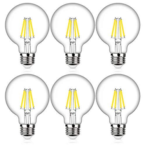 - 60W Equivalent G25 Dimmable LED Edison Globe Light Bulbs, 7Watt, Medium Screw Base (E26), 5000K Cool White, 800Lm, Omnidirectional Bathroom Vanity Mirror Light, Energy Efficient, 6-Pack