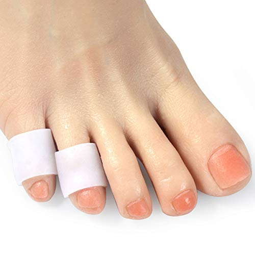 DYKOOK Toe Sleeves, 5 Pairs/Pack, Toe Protectors for Corns Remover, Callus Cushion, Bunion Treatment, Ingrown Nails, Pinching, Cramping (Middle Toe Covers) (Thin-White)