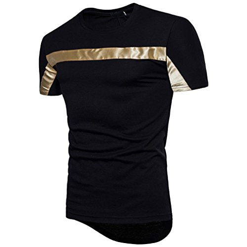 Bluestercool Fashion Hommes Top Manches Courtes Patchwork Casual T-Shirts Noir