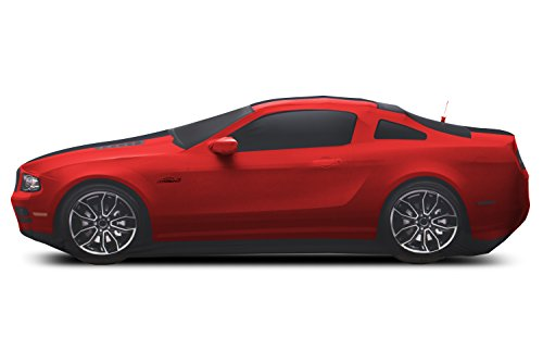 Coverking Custom Fit Car Cover for Select Ford Mustang Models - Satin Stretch (Race Red with Black Stripes) ()