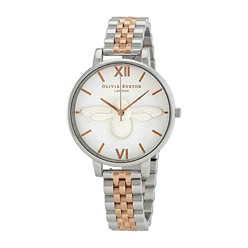 Olivia Burton 3D Bee White Dial Two-Tone Ladies Watch OB16AM156 (Ladies Two Tone White Dial)