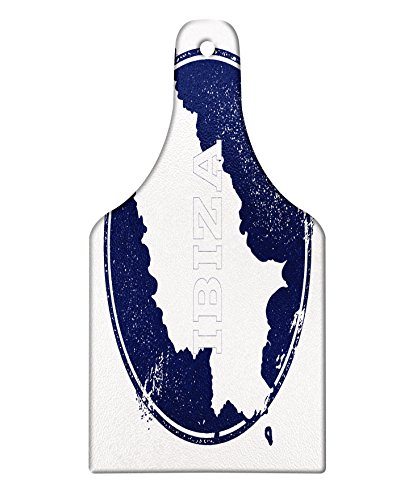 Lunarable Ibiza Cutting Board, Grunge Style Island Name and Map Southern Spain Vacation Destination Exotic, Decorative Tempered Glass Cutting and Serving Board, Wine Bottle Shape, Dark Blue and White by Lunarable