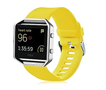 Fitbit Blaze band,Huamecl Classic Soft Silicone Sport Bands Strap Replacement for Fitbit Blaze Not included Metal Frame -Yellow
