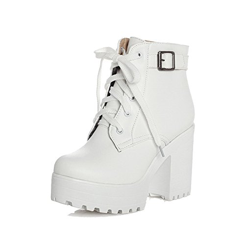 AgooLar Women's Round Closed Toe Low-Top High-Heels Solid PU Boots White hOfQb2Uw