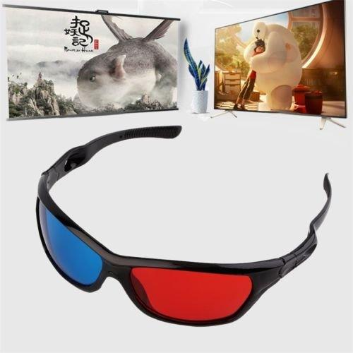 MoeWoods(TM) Black Frame Red Blue 3D Glasses For Dimensional Anaglyph Movie Game DVD PR