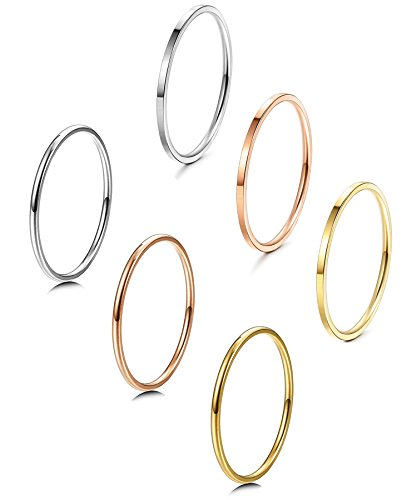 LOYALLOOK 1mm Stainless Steel Women's Plain Band Stacking Midi Rings Comfort Fit Wedding Band Ring 6pcs -