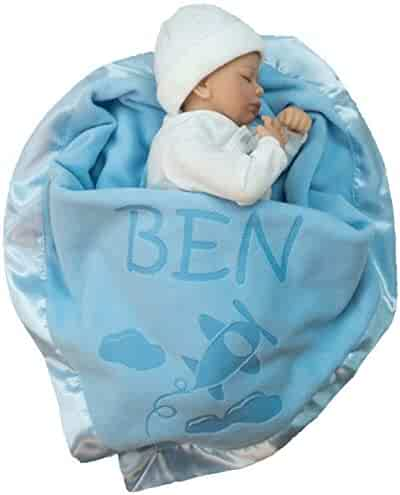 Custom Catch Personalized Airplane Baby Blanket Gift - Boy or Girl Name - Blue or Pink (1 Text LIne)