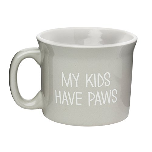 Have Paws Mugs - Amici Pet, 7CW024R, My Kids Have Paws Ceramic Coffee Mug, Light Gray with White Lettering, Microwave and Dishwasher Safe, 20 Ounce Capacity