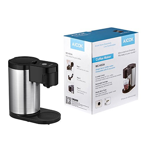 Aicok Single Serve Coffee Maker K Cup Brewer Stainless Steel Easy To Wash And Travel/ Stylish Black
