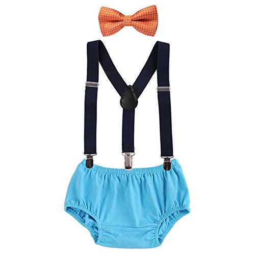 Baby Boys Cake Smash Clothes Diaper Suspenders Pants Bow Tie 3PCS Set First 1st 2nd Birthday Outfit for Photo Prop Party Orange + Black + Blue 3-24 Months ()