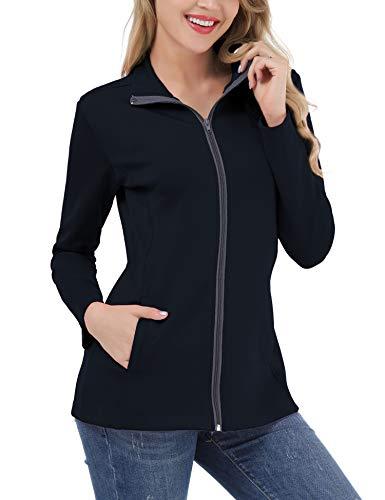 FISOUL Women's Lightweight Full Zip Running Sport Jacket High Collar Workout Track Jacket with Pockets NavyXL ()