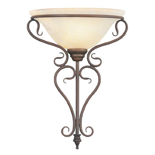 Livex Lighting 6182-58 Wall Sconce with Vintage Scavo Glass Shades, Imperial Bronze