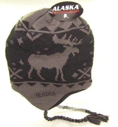 - Alaska Beanie Hat Skull Black & Grey Moose Peruvian Helmet Hat W/ Tassle