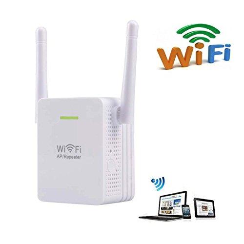 wosuk Red Wifi Range Extender 300 M inalámbrico amplificador mini Booster WiFi repetidor/AP con dos antenas y Poin de acceso inalámbrico N Amplificador de ...