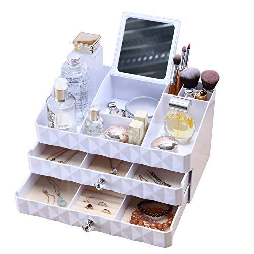 WEBI Jewelry & Makeup Drawer Organizer: Large Capacity, 3 Layers,with Mirror and Crown, Countertop Cosmetic Display Case, Jewelry Storage Box Holder, Vanity Bathroom Beauty Organizer,1710-White (Organizer 4l Acrylic Makeup)
