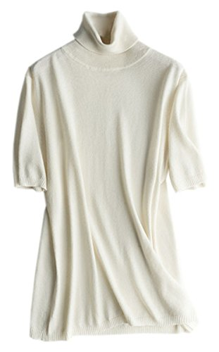 DAIMIDY CASHMERE Women's Short Sleeve Ribbed Turtleneck Knit Sweater Top, White, Tag L = US 6