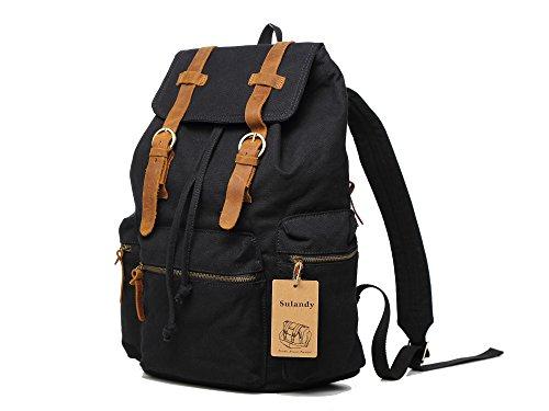 sulandy @ multi-función Vintage Canvas piel senderismo viajes Militar mochila Messenger bolso para mujeres y hombres color caqui verde Black11
