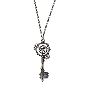 Alchemy Gothic Unisex Adult's Septagramic Coercion Gearwheel Key Necklace